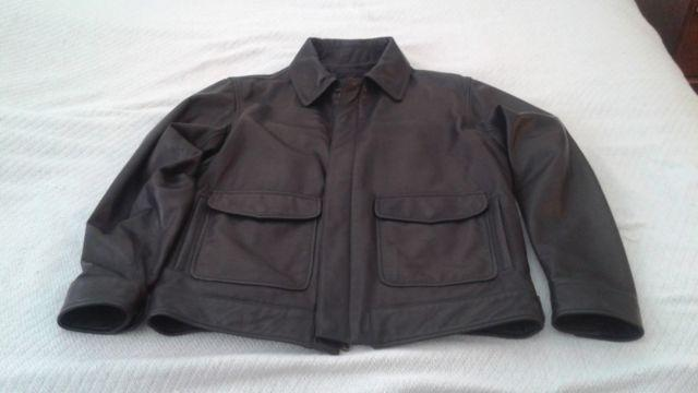 Used Wilsons Mens brown Leather Bomber Jacket Medium