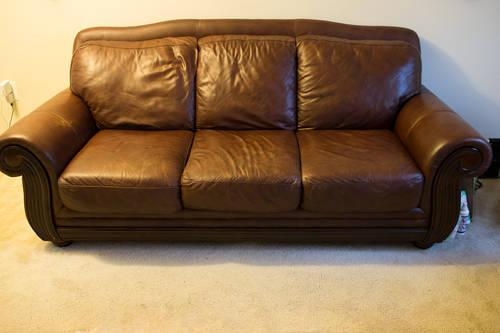 Used Chocolate High Quality Leather Couch Chair And