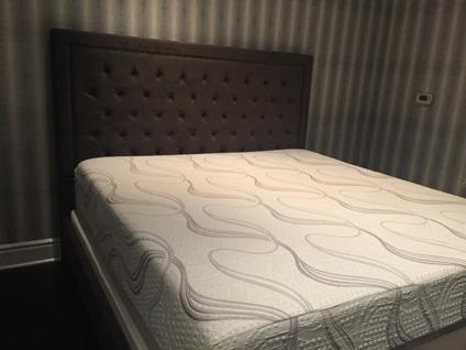 Velvet Headboard and Kind Memory Foam Mattress