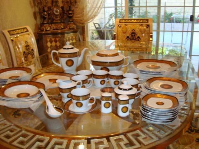 Versace Medusa Style Porcelain 51 Pcs Dinner Set For 8