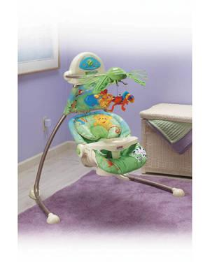Very NicE Fisher Price Rainforest Open-Top Cradle Swing MUSICAL SET