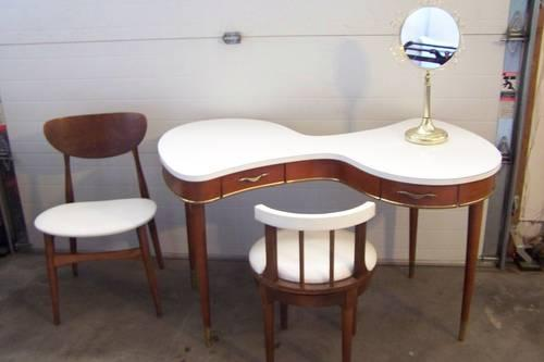 Very Rare Vintage Danish Vanity Table  Chairs 4 Piece Set