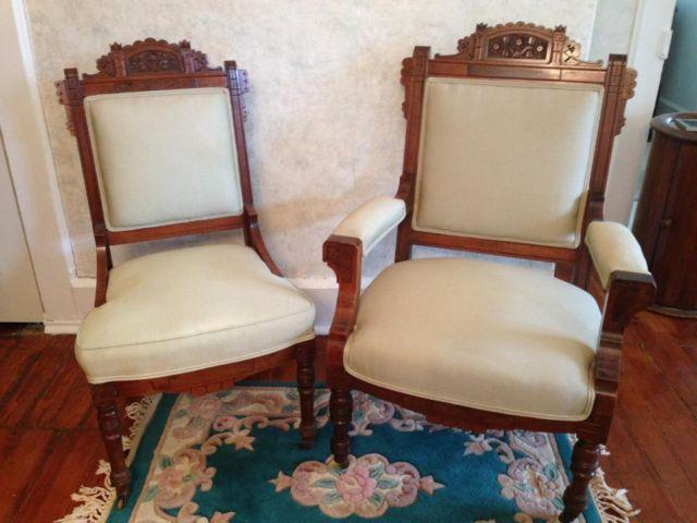 Victorian Eastlake His and Hers Parlor Chairs - Burled Wood Accents