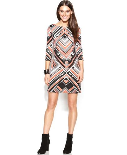 Vince Camuto Three-Quarter-Sleeve Printed Shift