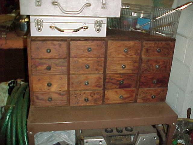 Vintage 16 Drawer Wood Tool Chest Machinist Small Parts Cabinet