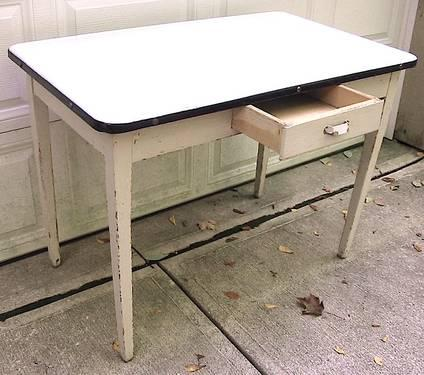 Vintage 1930's Enamel Top Hoosier Kitchen Table Wht. W ...
