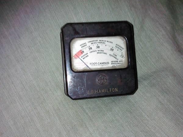 Vintage 1935 General Electric GE J.D. Hamilton Light Meter