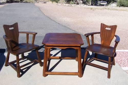 Vintage 1950 39 S Brandt Ranch Oak Arm Chairs Matching Table For Sale In Pueblo Colorado
