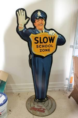 Vintage 1950s Coca Cola Crossing Guard Sign - $2995