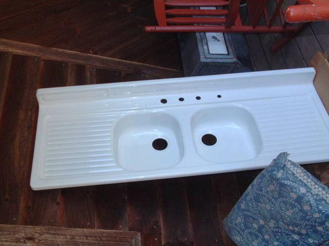 Vintage 1950s Kitchen Metal Sink, Refurbished, Double Splash Boards