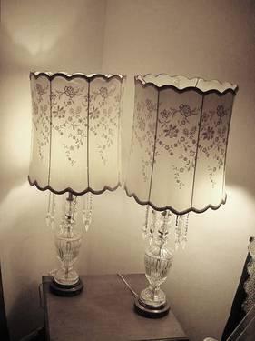Vintage 1950u0027s LEAD CRYSTAL TABLE LAMPS E.