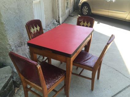 Vintage 1950s 1960s Red Formica Top Wooden Kitchen Table With Chairs For Sale In Chicago