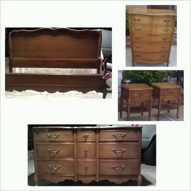 Vintage 1960s 5pc cherry french provincial bdrm set for sale in la mirada california classified for 1960 bedroom furniture for sale