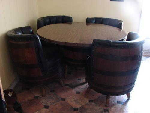 Vintage 1960s 70s Barrel Dining Set W Table Amp 4 Chairs For