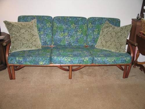 Vintage 1960s Rattan Tiki Sofa Abstract Floral Print Brass Accents For Sale In Crossroads