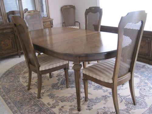 Vintage 1969 Fruitwood Dining Room Set, Cane Chairs,