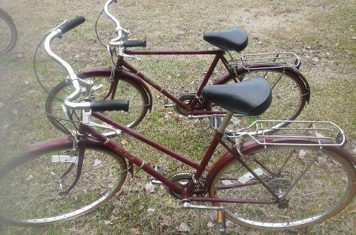 Vintage 1970s His And Her Ruby Red Free Spirit Brittany Bikes For