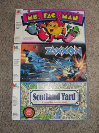 Vintage 1980s Video Game Board Games Pac Man Zaxxon Scotland Yard MB - $8