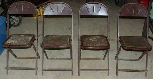 Vintage 4 Metal Folding Chairs By Hampden Specialty Products For Sale In Telf