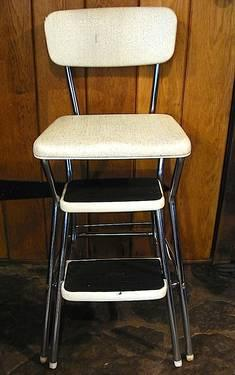 Vintage 50 S Cosco Kitchen Step Stool Chair Padded Seat