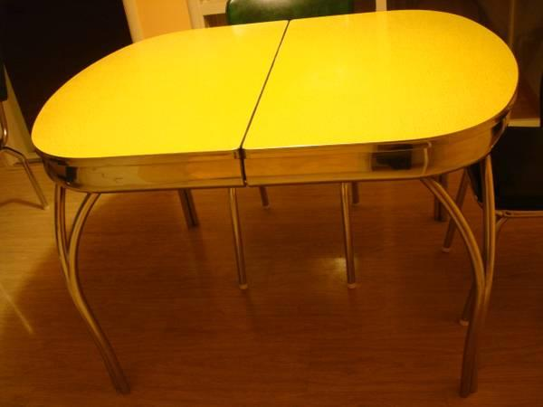 Vintage 50 39 s retro formica chrome kitchen table 4 chairs for sale in south san francisco - Retro chrome kitchen table ...