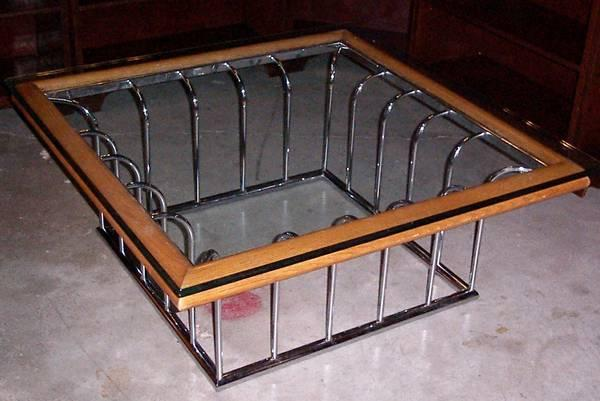 vintage 70s Space-age CHROME & GLASS COFFEE TABLE ultra