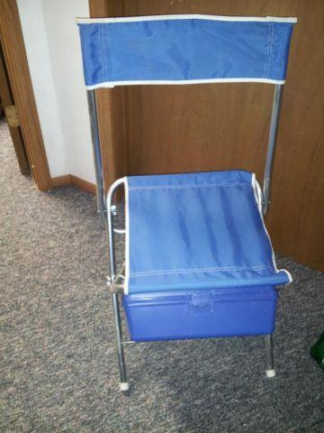 Vintage aluminum fishing chairs with tackle box under seat for sale
