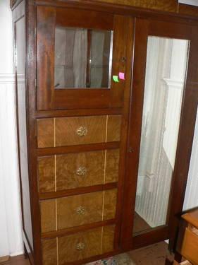 Vintage Antique Art Deco Style Burl Wood Armoire Wardrobe Chifferobe