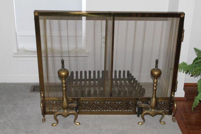Vintage Antique Brass Fireplace Screen And Andirons For Sale In