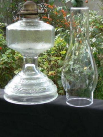 Vintage Antique Clear Glass Ribbed Kerosene Oil Lamp For
