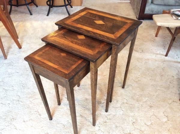 Vintage Antique PRIMITIVE Nested Inlaid Wood Tables - - Vintage Antique PRIMITIVE Nested Inlaid Wood Tables - For Sale In
