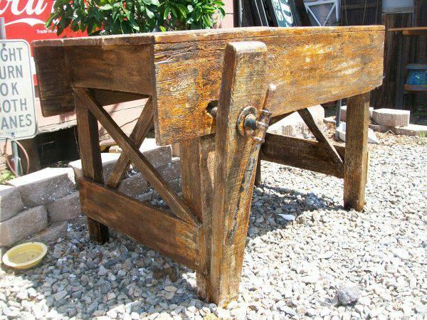 Vintage antique primitive wood working work bench kitchen for Vintage kitchen island for sale