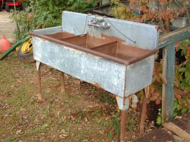 Vintage Antique Rare Triplebay kitchen farmhouse deep sink Original