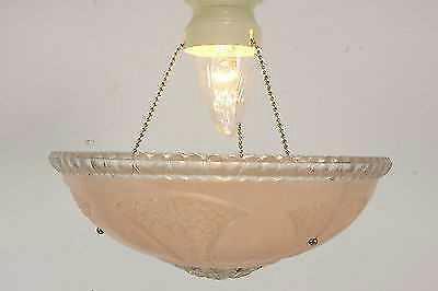 Vintage Art Nouveau Ceiling Light Fixture w/ 3 Chain Pink Glass for ...