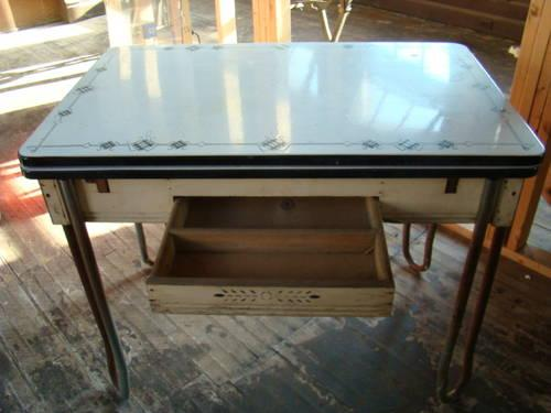 Vintage Black And White Porcelain Top Table For Sale In Erwin Heights North Carolina Classified