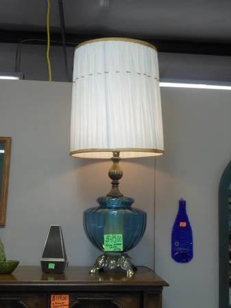 Vintage BLUE Glass Lamp - $45