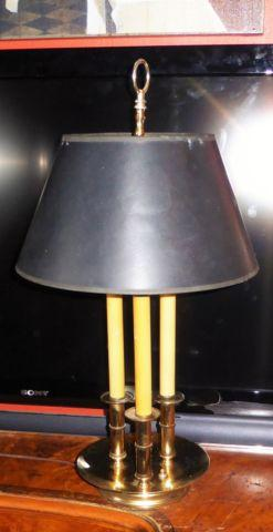 Vintage Brass Bouillotte Candlestick Table Lamp Hollywood Regency Styl