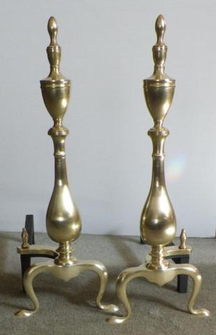 Vintage Brass Federal Andirons
