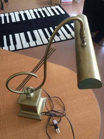 Vintage Brass Piano Desk Lamp With Treble Clef For Sale In