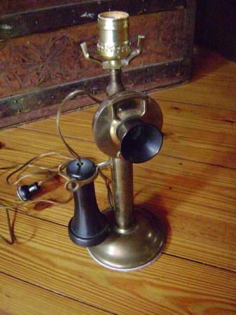 VINTAGE BRASS WESTERN ELECTRIC CANDLESTICK PHONE-LAMP -