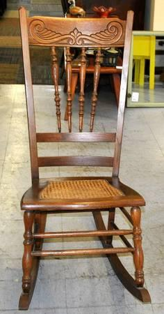 Vintage Cane Seat Spindle Back Rocking Chair   Solid