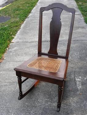 Fine Vintage Caned Seat Wood Rocking Chair Hhm For Sale In Beatyapartments Chair Design Images Beatyapartmentscom