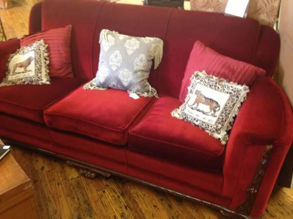 VINTAGE CEDAR CHEST BURGUNDY VELVET SOFA CHAIRS TABLES