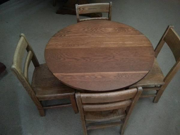 vintage children s solid oak school chairs and round table for