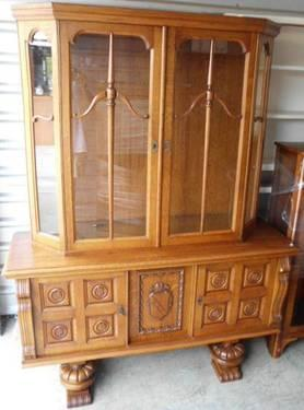 Vintage china cabinet carved wood detail for sale in for Furniture 77429