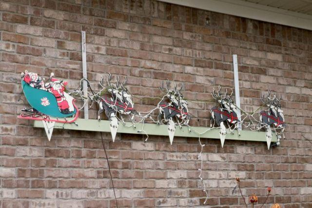 Vintage Christmas Decoration Outdoor Santa Reindeer Lighted For