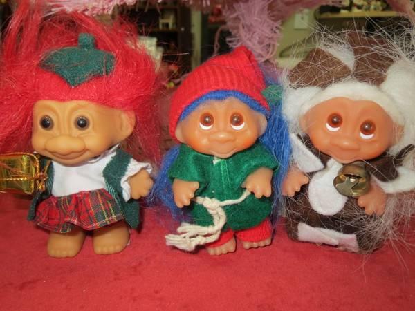 Vintage Christmas Troll Dolls - $3