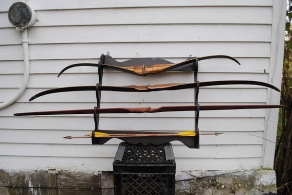 Vintage CLIFF COE Archery set of 3 bows Long Short Recurve Bow lot - $500