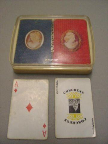 Vintage Congress Bridge Playing Cards Decks in Plastic See Through Cas