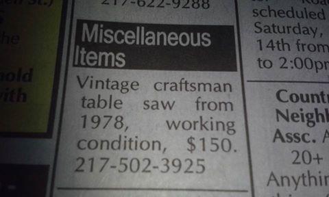 Vintage craftsman table saw 1978